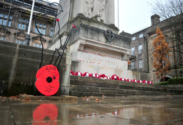 The Cenotaph adorned with poppy wreaths in Preston city centre Pic: Donna Clifford