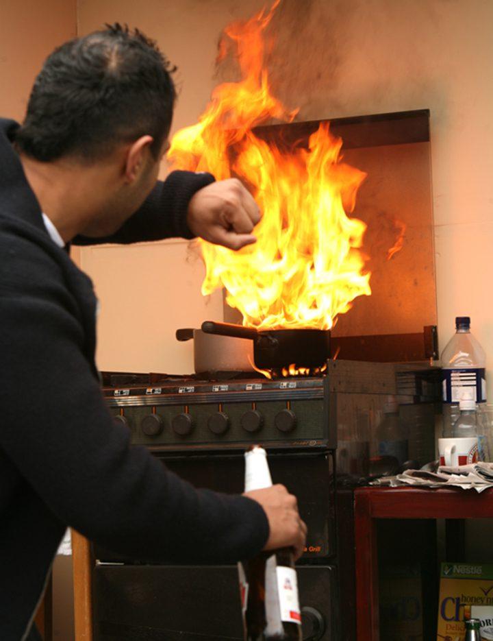 Hot oil fire