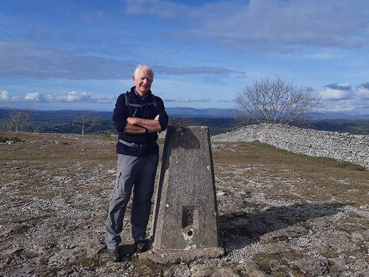 Rotary Club of Preston South member John Dalton at Scout Scar near Kendal, his contribution to the club's 2,088 mile walk