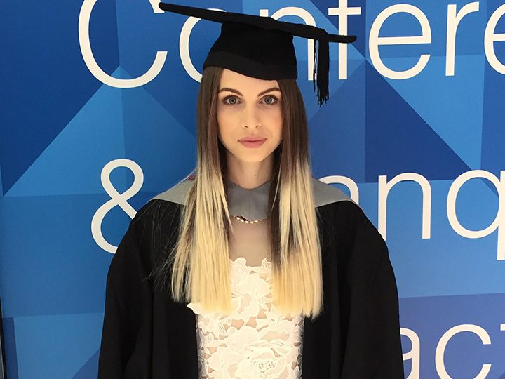 Laura Sylvester at her graduation at the Guild Hall in 2015