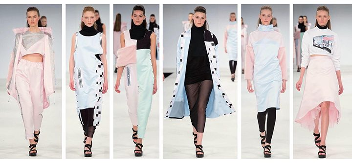 Laura Sylvester's collection on the runway at graduate fashion week in London