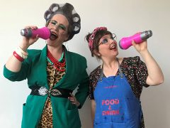Quiz hosts Mabel and Gladys (the alter egos of artists Rebecca Davies and Anna Francis)