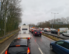 Traffic on M55. Pic: Christopher August
