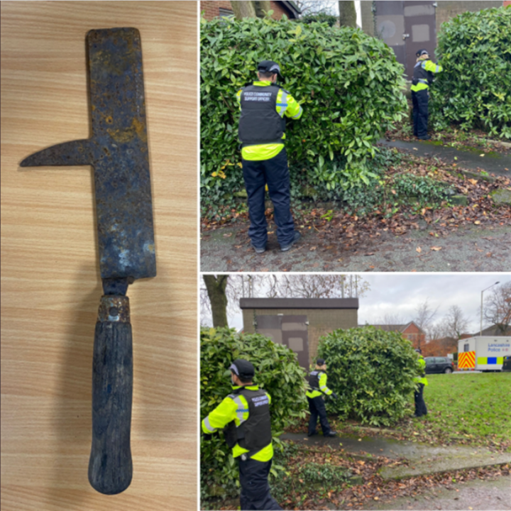 Weapon recovered in Moor Park. Pic: Preston police