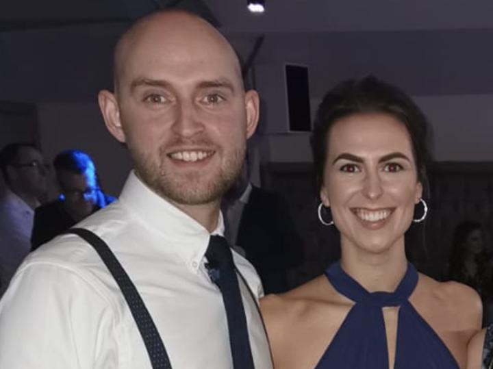 Rhys Brindle with his girlfriend
