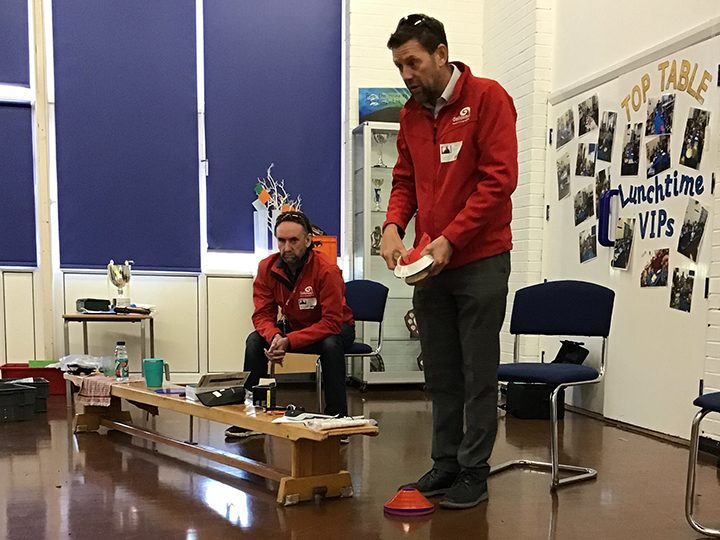 James Coulton and Stuart Walpole from Galloway's deliver visual awareness training at St Stephen's C of E Primary School