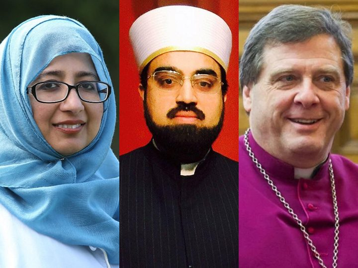 Three of the speakers (L-R): Ustadha Khola Hasan, Dr. Shaykh Umar al Qadri, Bishop Tony Robinson