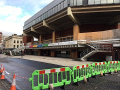 Guild hall roads blocked off for urgent building works. Pic: Blog Preston