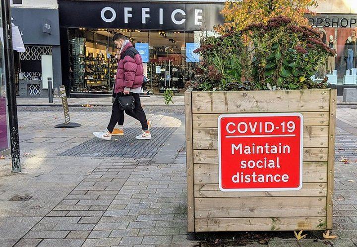 A Covid sign in Preston city centre Pic: Tony Worrall