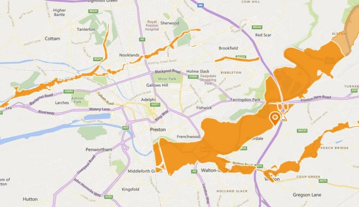 Area covered by the Environment Agency's flood alert for the River Ribble Pic: Environment Agency