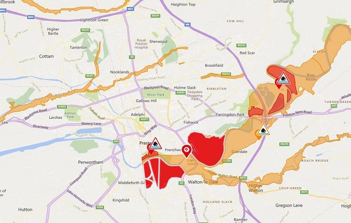 The areas in red show where flood warnings are in force from the Environment Agency Pic: Environment Agency North West