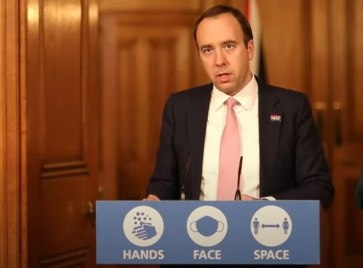 Health secretary Matt Hancock gives an update Pic: YouTube/10 Downing Street