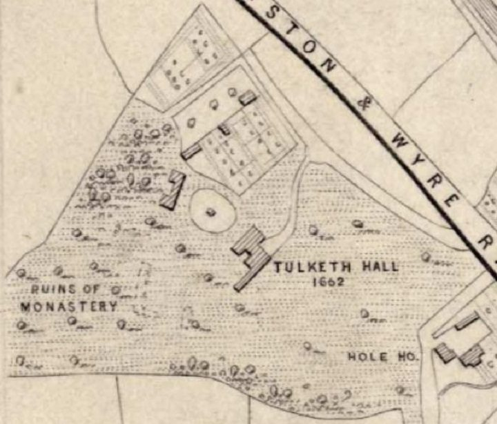 OS Map showing Tulketh Hall and the former monastry