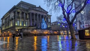 A damp looking Christmas scene in Preston's Flag Market Pic: Tony Worrall