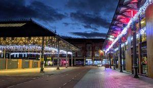 The Preston Market canopies illuminated in Preston city centre Pic: Tony Worrall
