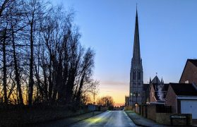 A winter sunset just beyond St Walburge's church's distinctive spire Pic: Tony Worrall