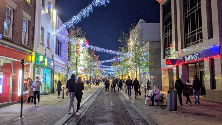 Looking down a festive Fishergate in Preston city centre Pic: Tony Worrall