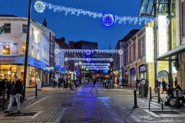 Christmas lights in Friargate in Preston city centre Pic: Tony Worrall