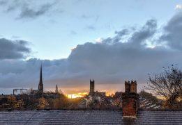 Sunrise over Preston rooftops Pic: Tony Worrall