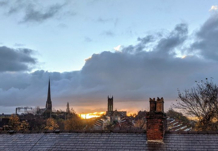 Sunrise over Preston rooftops Pic: Tony Worrall