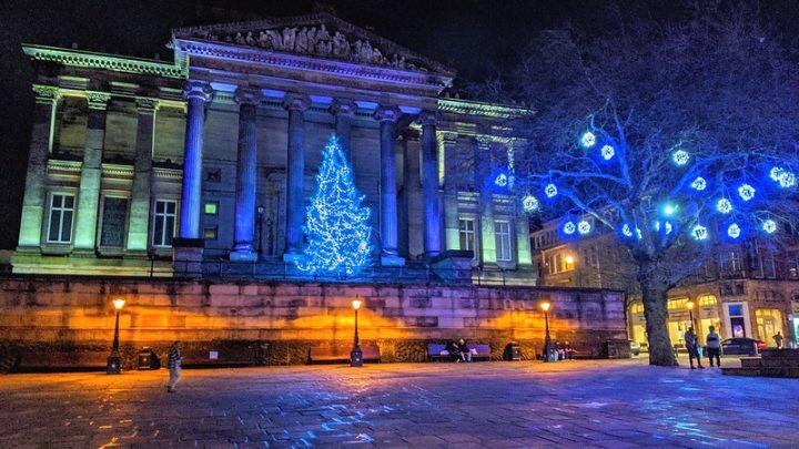 The Christmas tree on the Harris balcony in Preston city centre Pic: Tony Worrall
