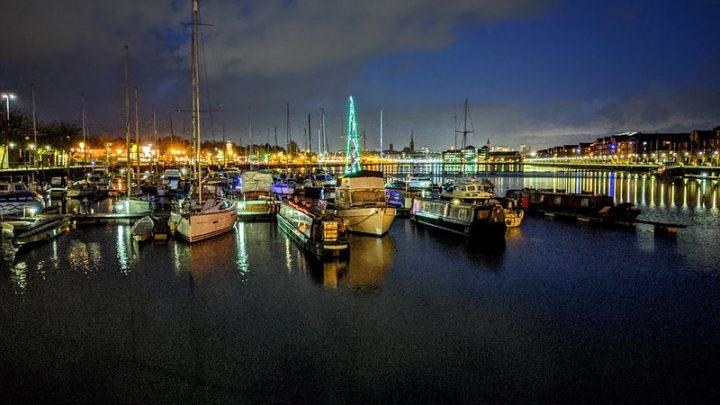 A Christmas tree on a boat at Preston Docks Pic: Tony Worrall