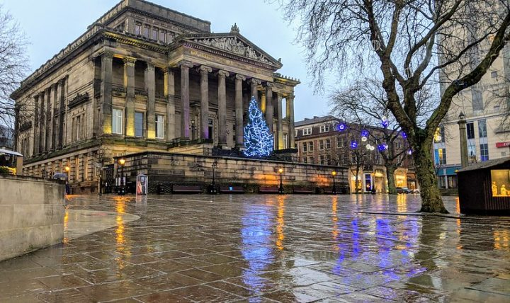 A very damp looking Harris Museum and Art Gallery and Flag Market in Preston Pic: Tony Worrall