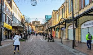 Looking up Friargate towards the Harris on Christmas Eve in Preston Pic: Tony Worrall