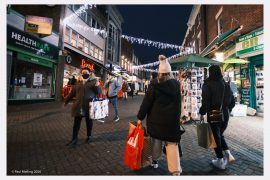 Shoppers out in Preston city centre under the Christmas lights Pic: Paul Melling