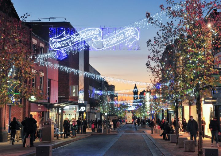 Christmas lights down Fishergate in Preston city centre Pic: Donna Clifford