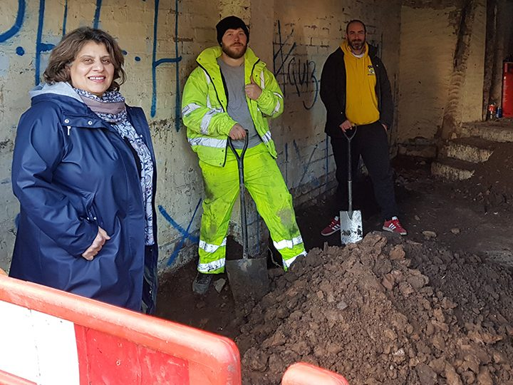 L-R: Councillor Nweeda Khan, Chris Murray and Richard Porter at the site