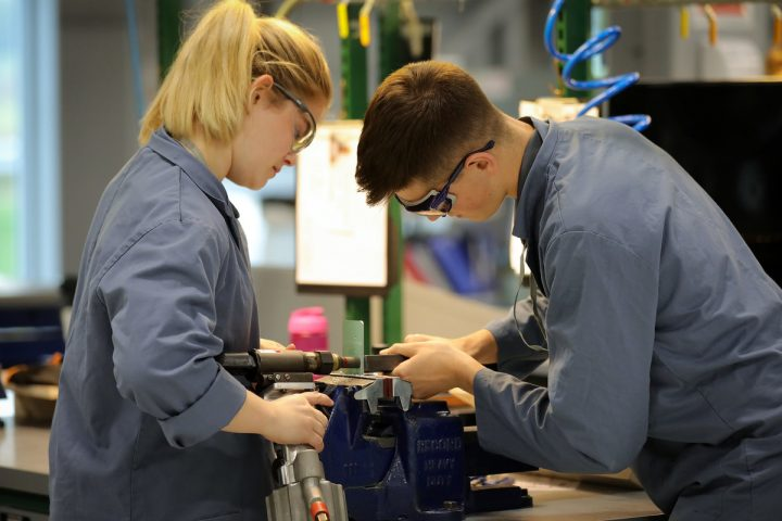 Two BAE Systems apprentices working in Samlesbury