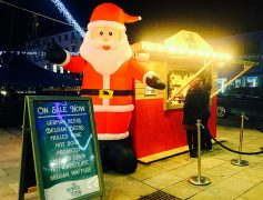The Winter Lodge Pop Up complete with giant Santa