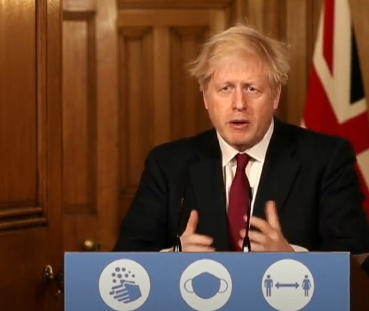 Boris Johnson during a press conference on Saturday (19 December) Pic: No10DowningStreet