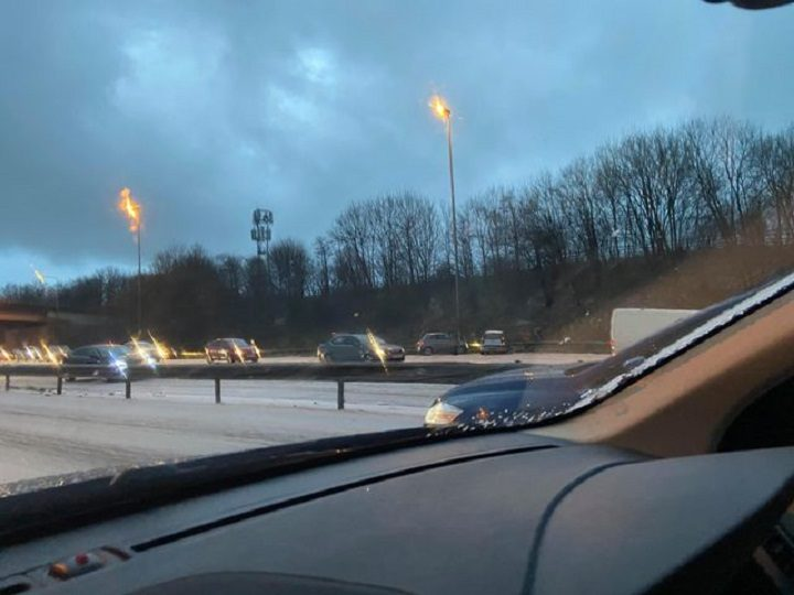 Cars crashed onto the hard shoulder as the icy conditions proved too difficult