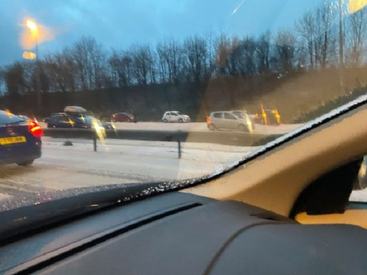 Snow showers left cars strewn across the motorway