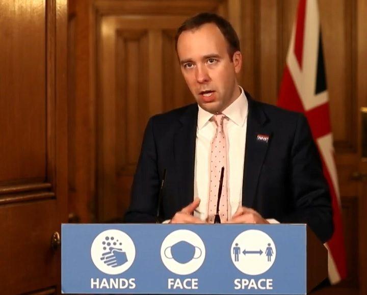 Health secretary Matt Hancock giving an update during Wednesday (23 December) Pic: UK government