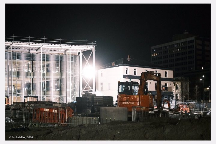 Working late on the new student centre at Adelphi Square Pic: Paul Melling