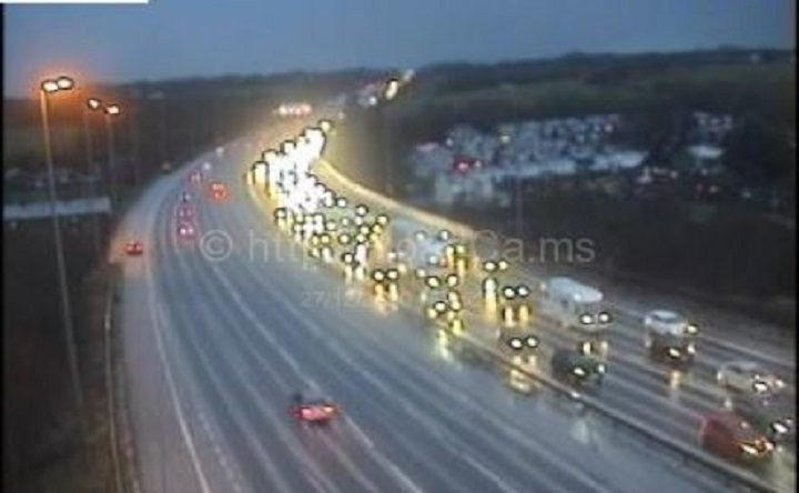 Traffic queuing on the M6 on Sunday (27 December) Pic: Motorway Cameras