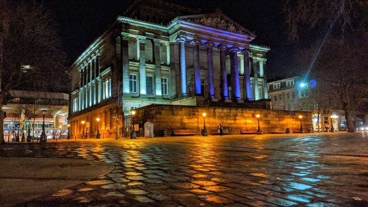 The Harris overlooking an empty Flag Market in Preston city centre Pic: Tony Worrall