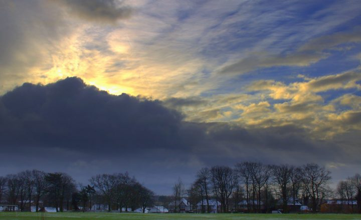 The sun breaks behind a cloud over Preston on Tuesday (26 January) Pic: Tony Worrall