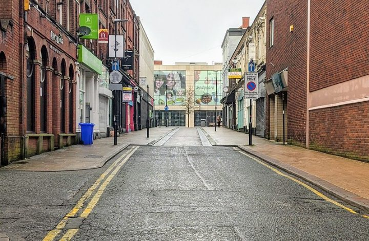 An empty Guildhall Street in Preston city centre Pic: Tony Worrall