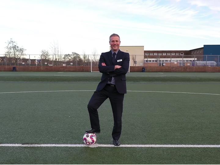 Penwortham Priory Academy Headteacher Matt Eastham on the 3G pitch