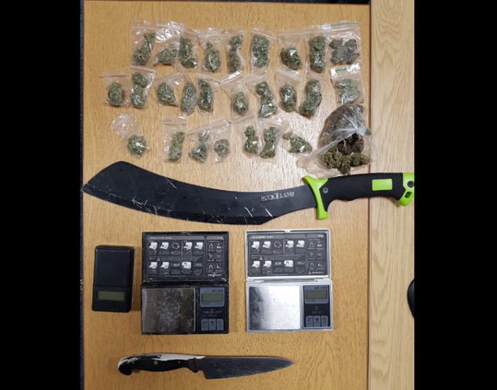 Drugs and weapons found at Samuel Street address. Pic: Preston Police