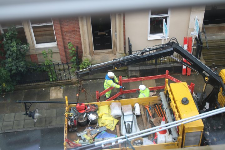 Removal of old lamppost. Pic: Pat Harrison