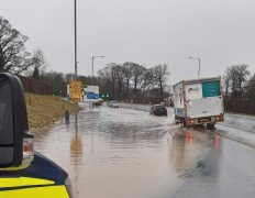Police are in the process of closing off James Towers Way due to flooding Pic: Preston Police