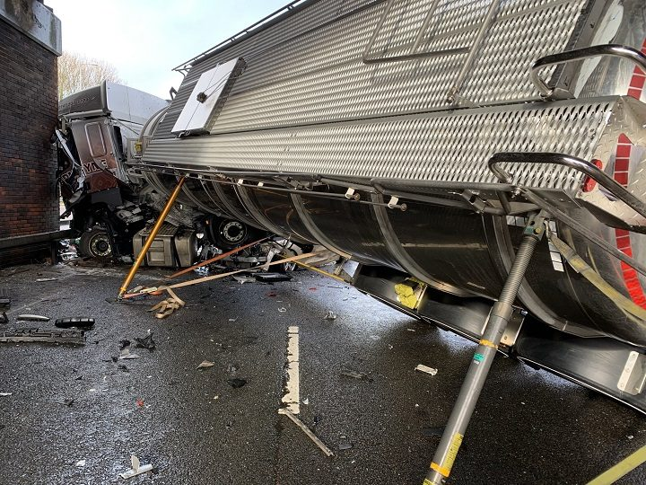 The lorry struck a motorway bridge during the crash Pic: SMAdyTaylor