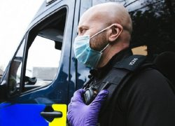 Police officer wearing a face mask Pic: Lancashire Police