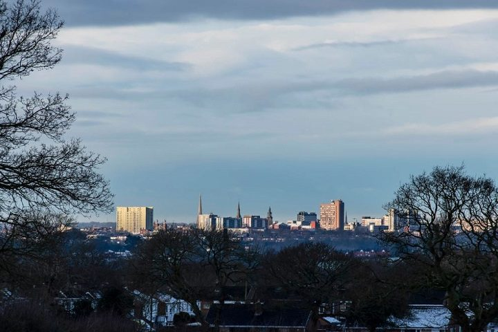 Preston skyline with a sprinkling of snow and ice Pic: Mick Gardner