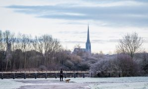 St Walburge's Church spire seen from a frosty Preston view Pic: Paul Melling